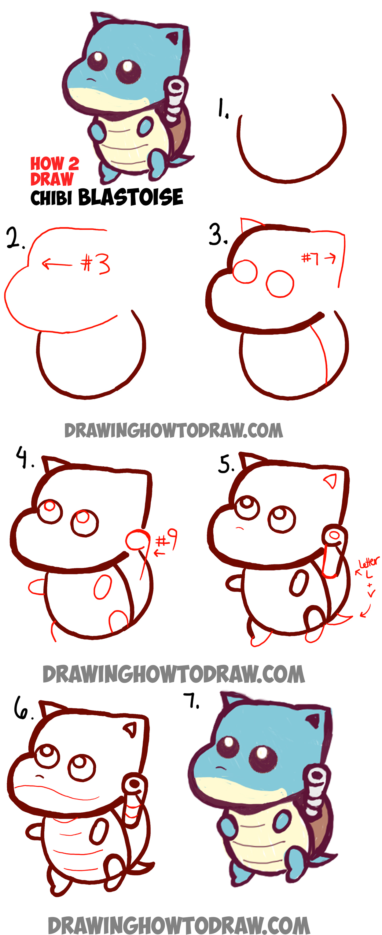 How to draw cute baby chibi blastoise from pokemon easy for Learn drawing online step by step