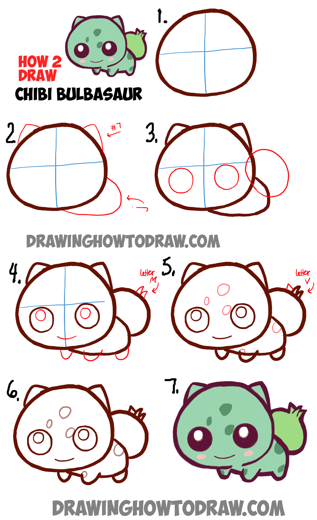 Learn How to Draw Cute Baby Chibi Bulbasaur from Pokemon in Simple Step by Step Drawing Tutorial