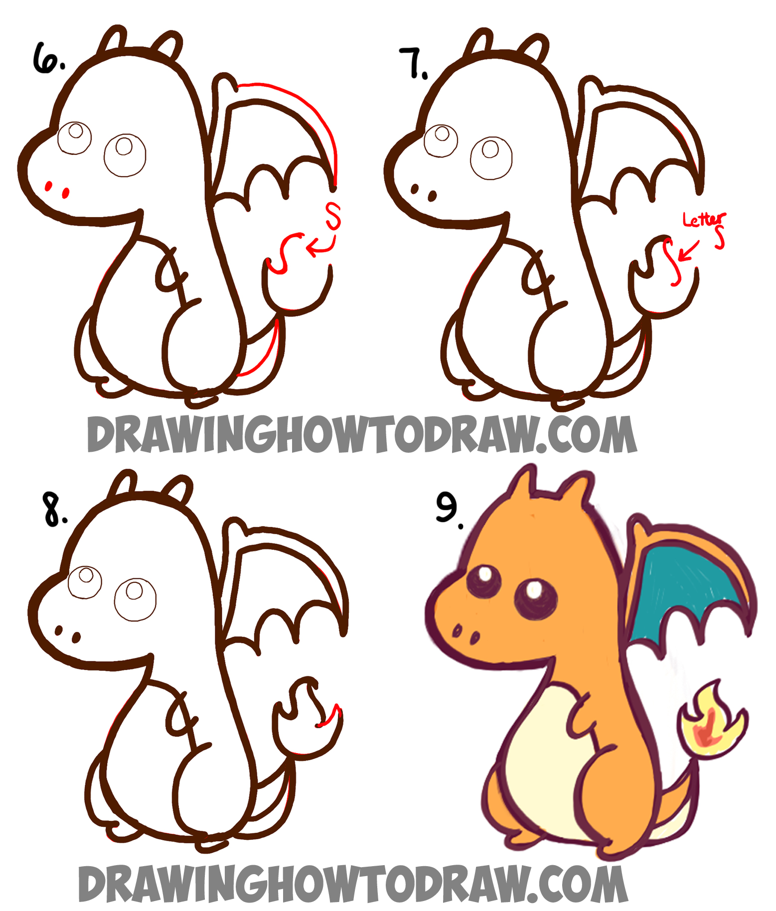 learn how to draw a cute chibi charizard easy step by step drawing tutorial