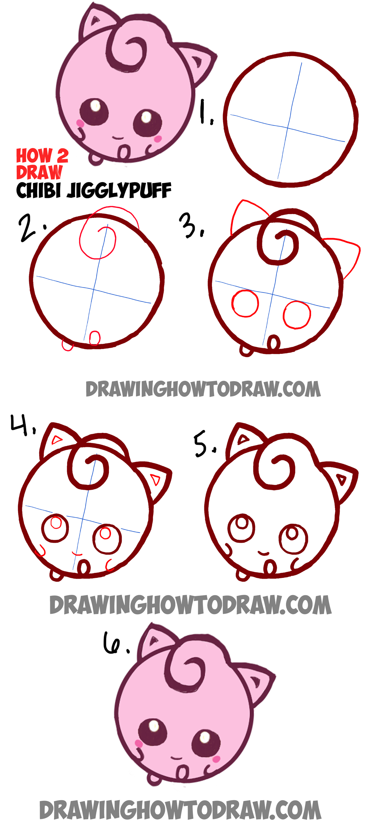 Line Art Step By Step : Learn how to draw cute baby chibi jigglypuff from pokemon