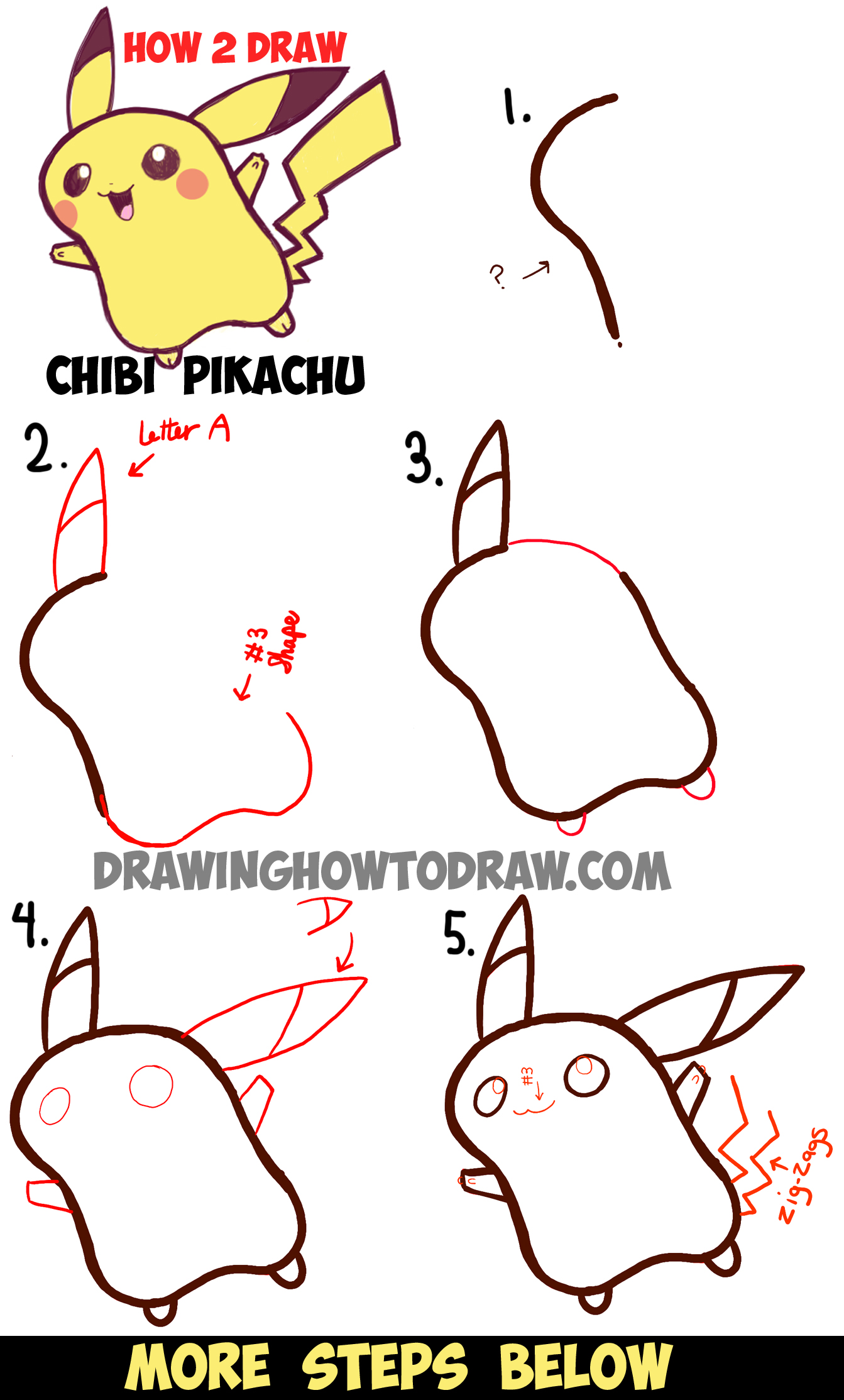 how to draw cute baby chibi pikachu from pokemon step by
