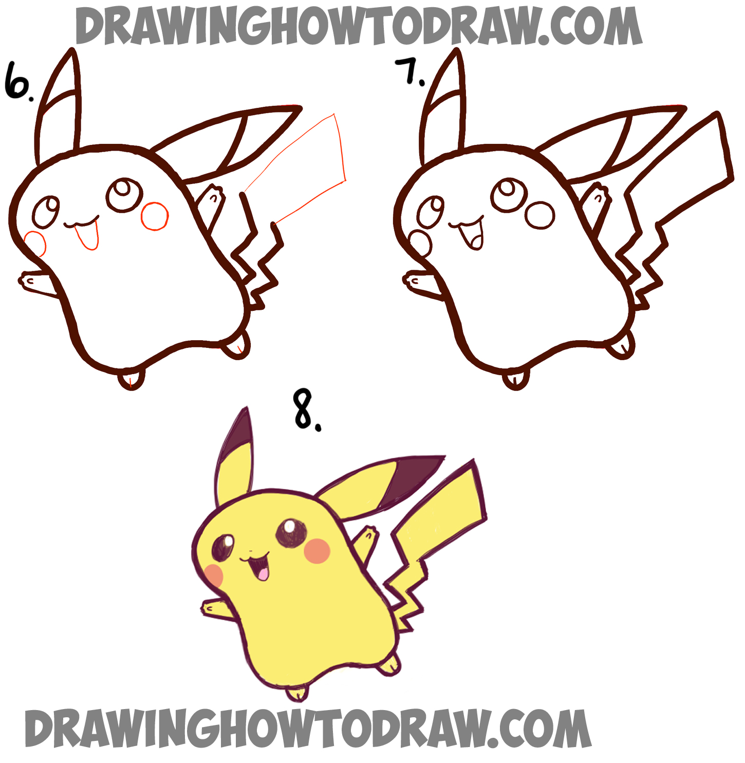 how to draw a cute baby pikachu simple step by step drawing tutorial