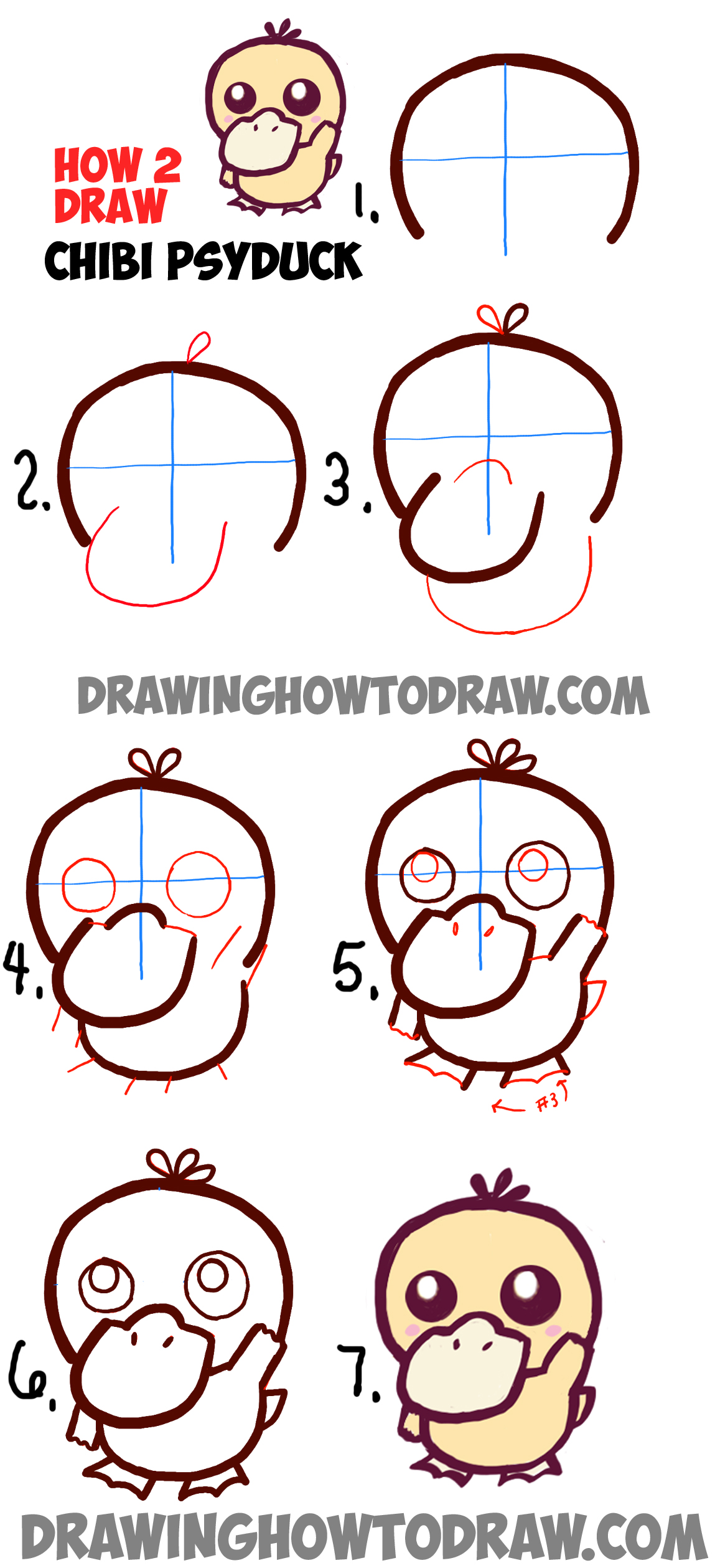 How to draw a cute baby chibi psyduck from pokemon in easy for Learn drawing online step by step