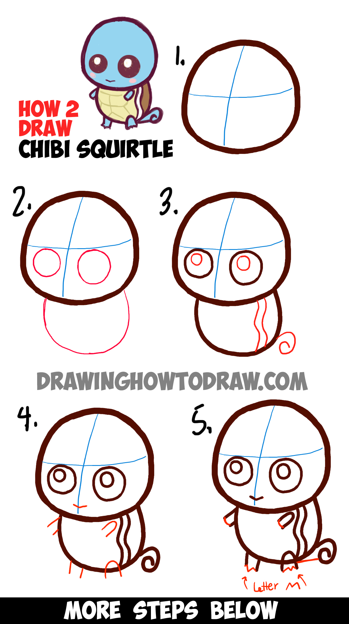 how to draw cute baby chibi squirtle from pokemon easy