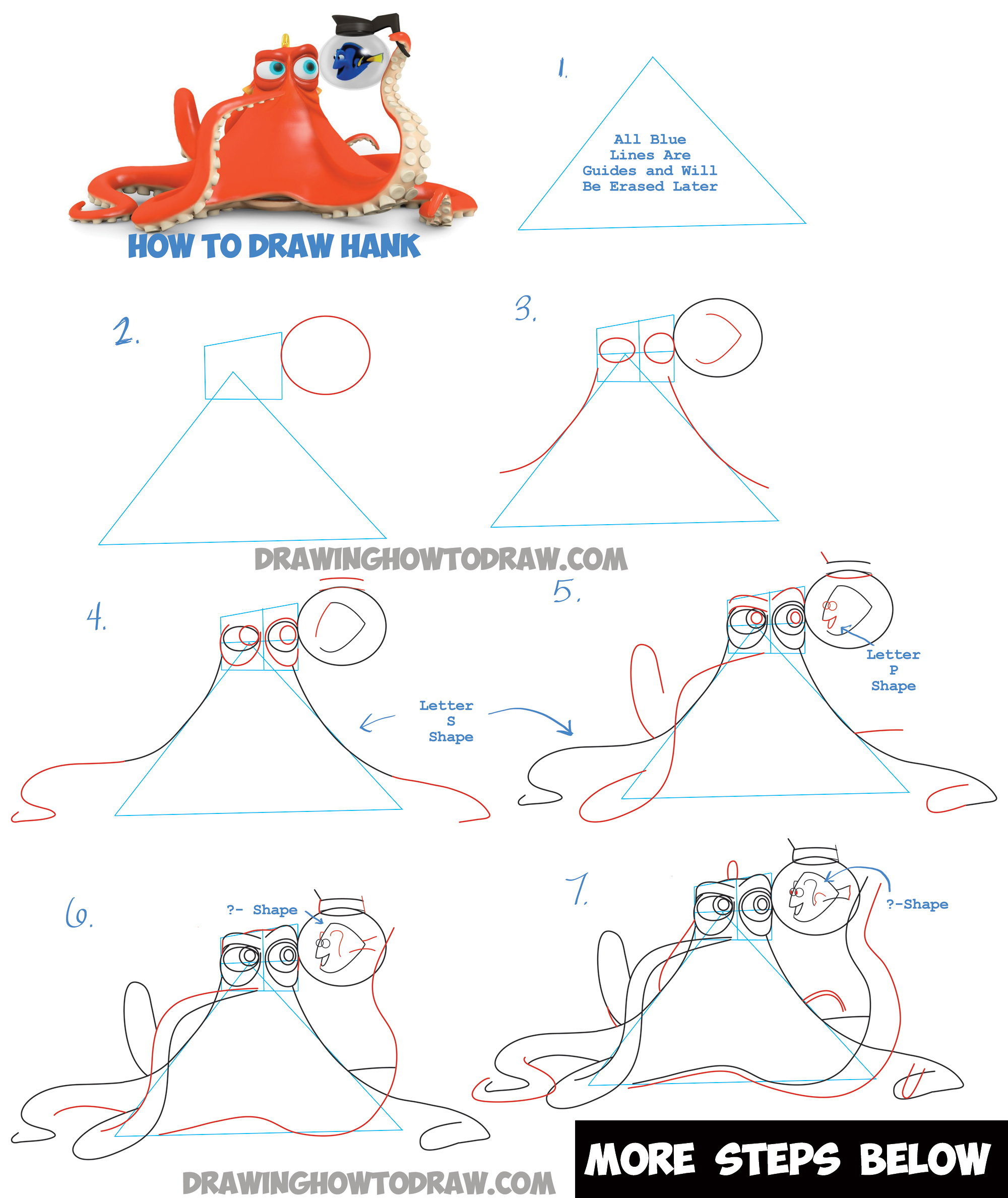 How to Draw Hank the Octopus and Dory from Finding Dory Step by