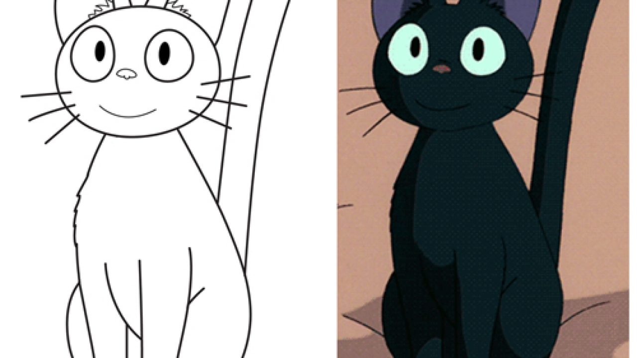 How To Draw Jiji From Kiki S Delivery Service Easy Step By Step Drawing Tutorial How To Draw Step By Step Drawing Tutorials