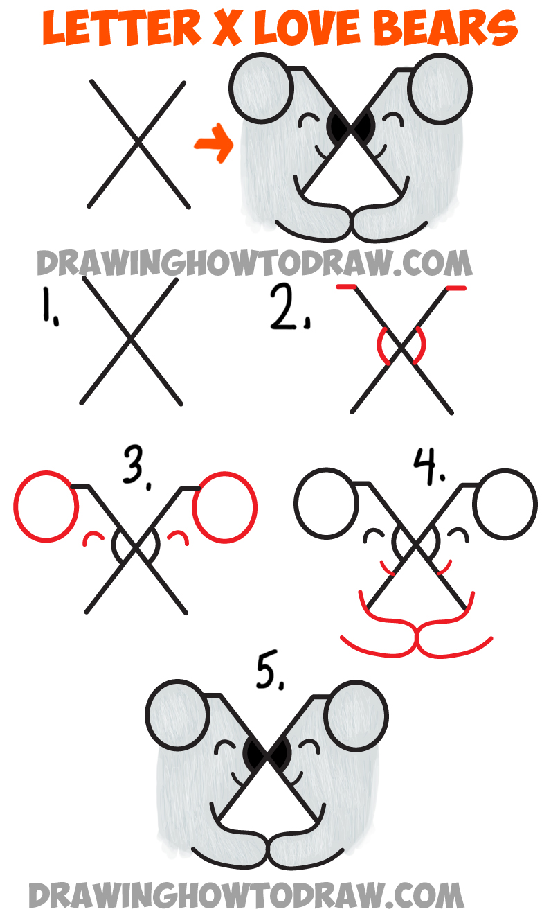 How to draw two bears in love from the letter x simple for Things to draw for beginners step by step