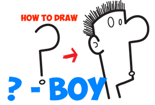 how to draw a cartoon character from a question mark