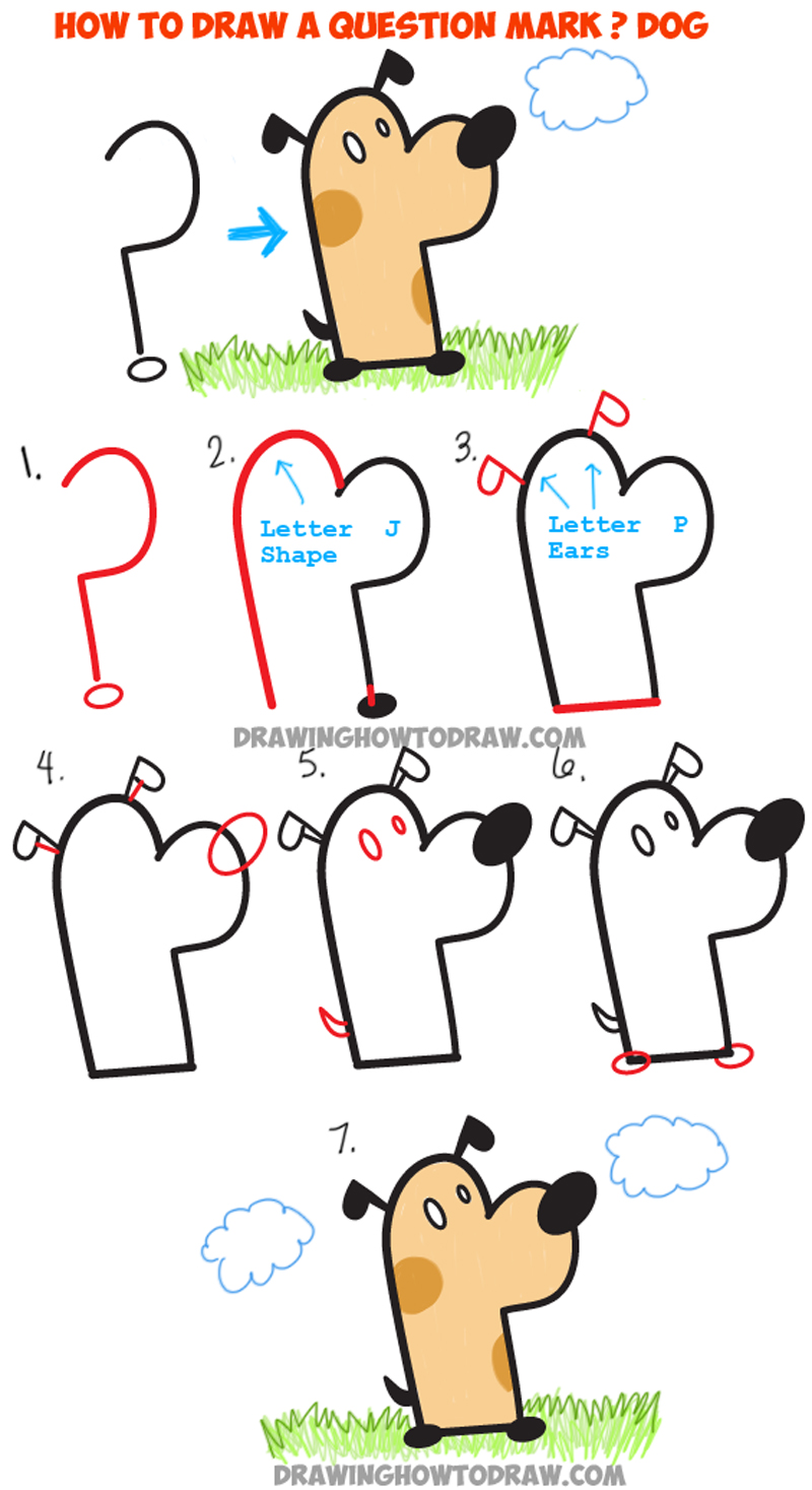 How To Draw A Cartoon Dog From A Question Mark Simple Tutorial For