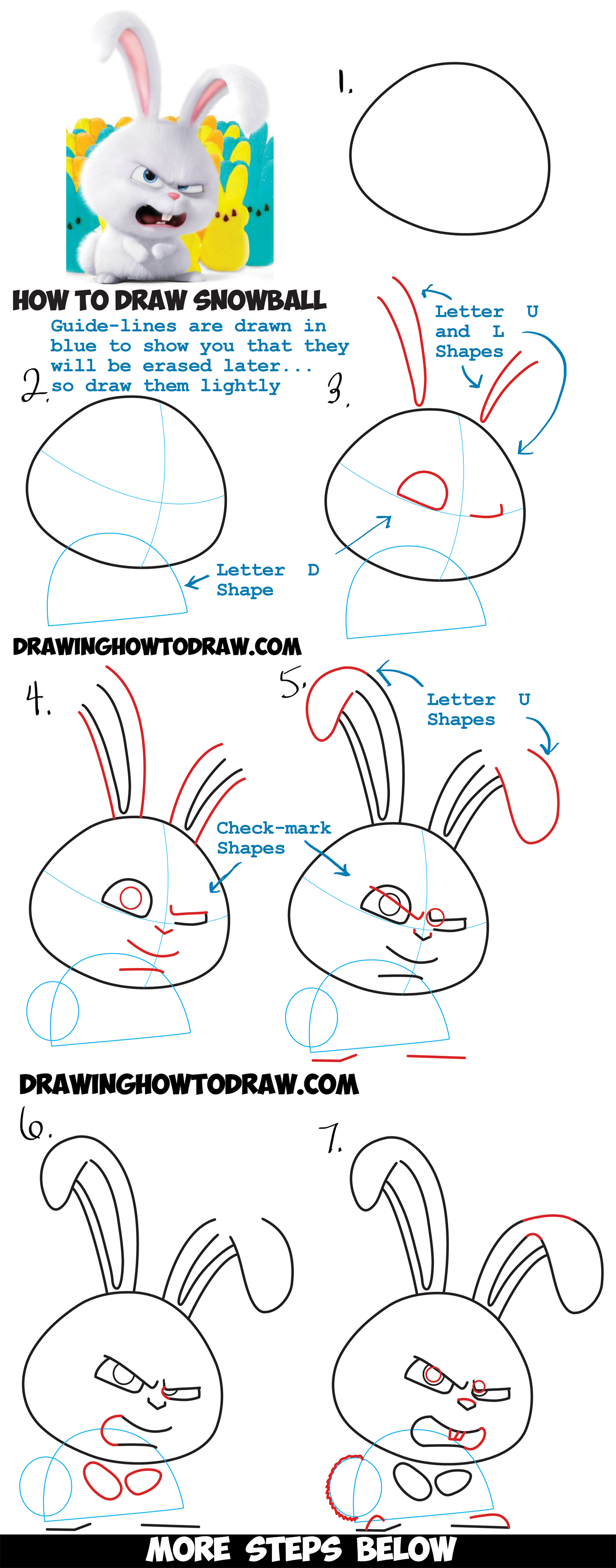 Learn How To Draw Snowball The Bunny Rabbit From The Secret Life Of Pets :  Easy