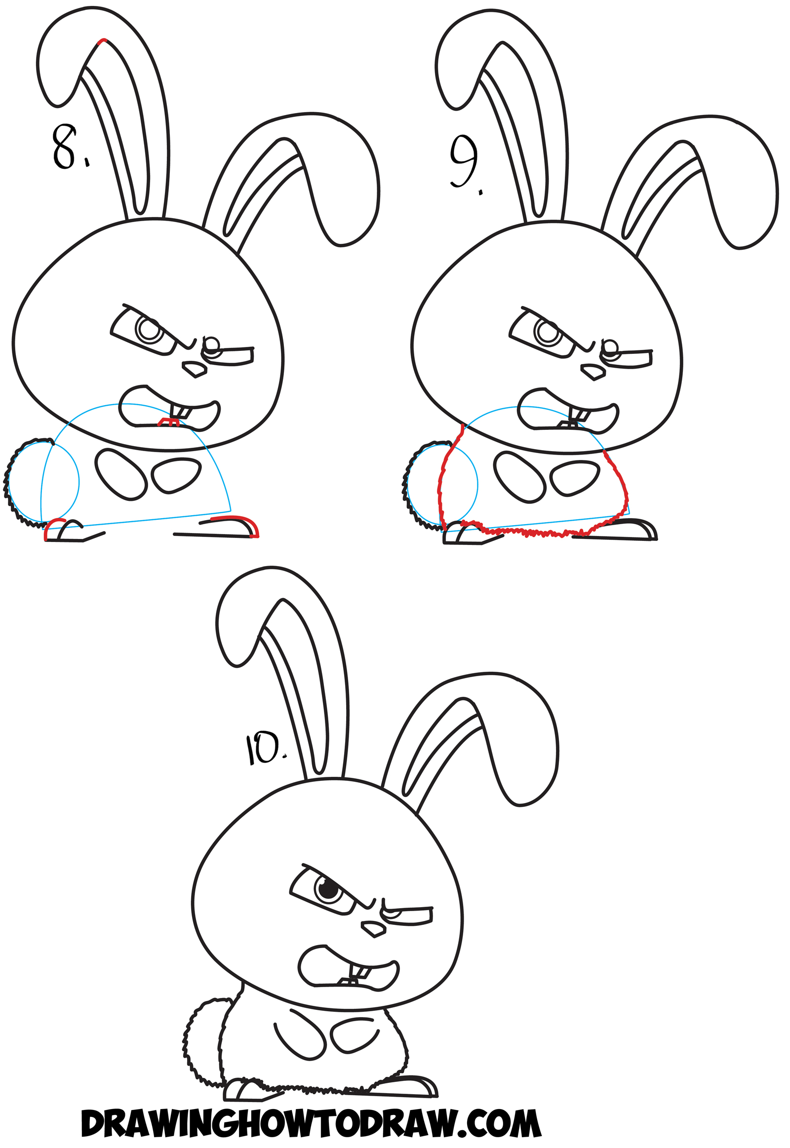 How to Draw Snowball the Bunny Rabbit from The Secret Life of Pets Drawing Tutorial