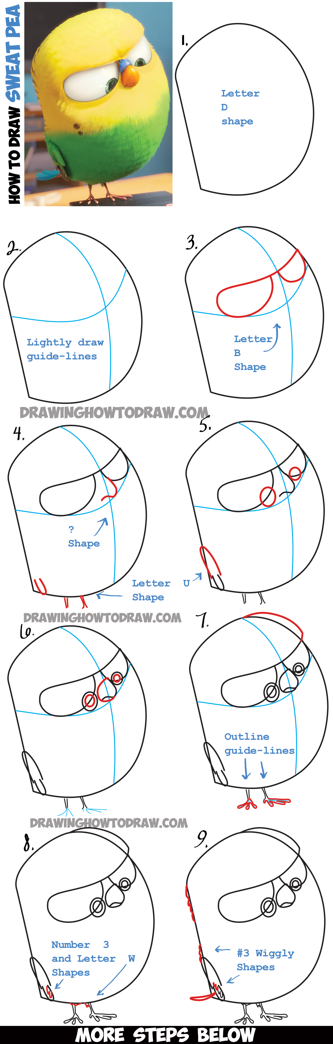 Learn How to Draw Sweet Pea the Bird from The Secret Life of Pets - Easy Step by Step Drawing Lesson