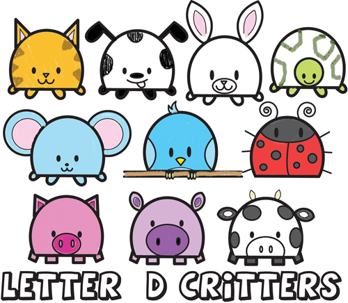 huge guide to drawing cute cartoon critters and animals from the letter D shape - drawing tutorial for preschoolers and young kids