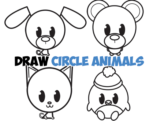 Learn how to draw cute circle animals with simple steps drawing lessons for kids