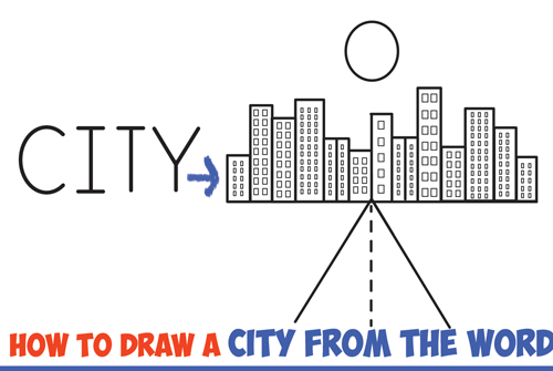 How to Draw a City from the Word City Word Cartoon Drawing