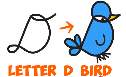 How to Draw Cursive Uppercase Letter D Cartoon Bird - Easy Step by Step Drawing Tutorial for Kids