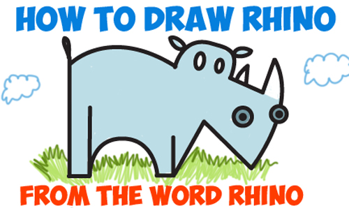 How to Draw a Cartoon Rhino from the Word Rhino - Easy Steps Word Toons Tutorial