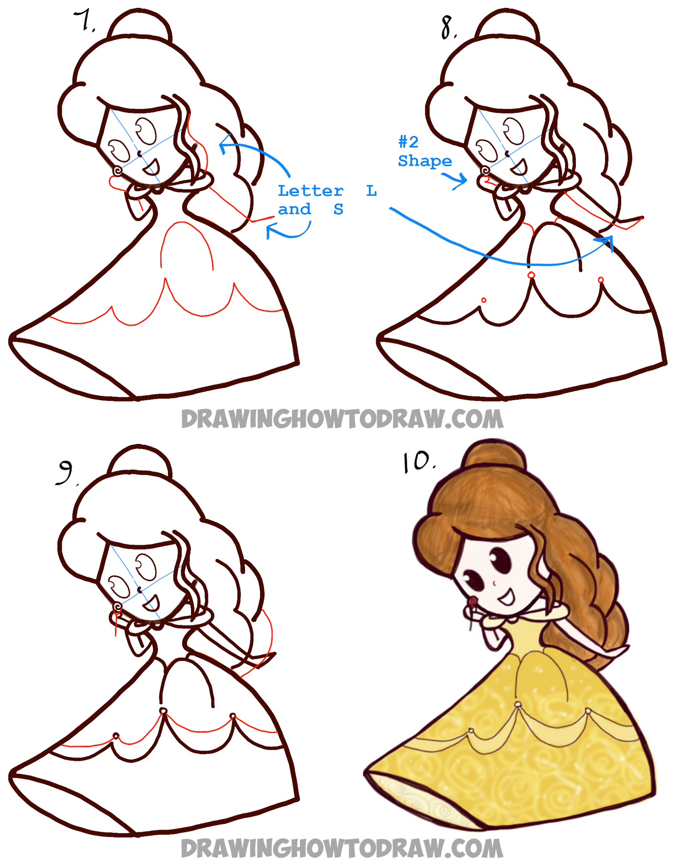 how to draw cute baby chibi belle from beauty and the beast disney princess