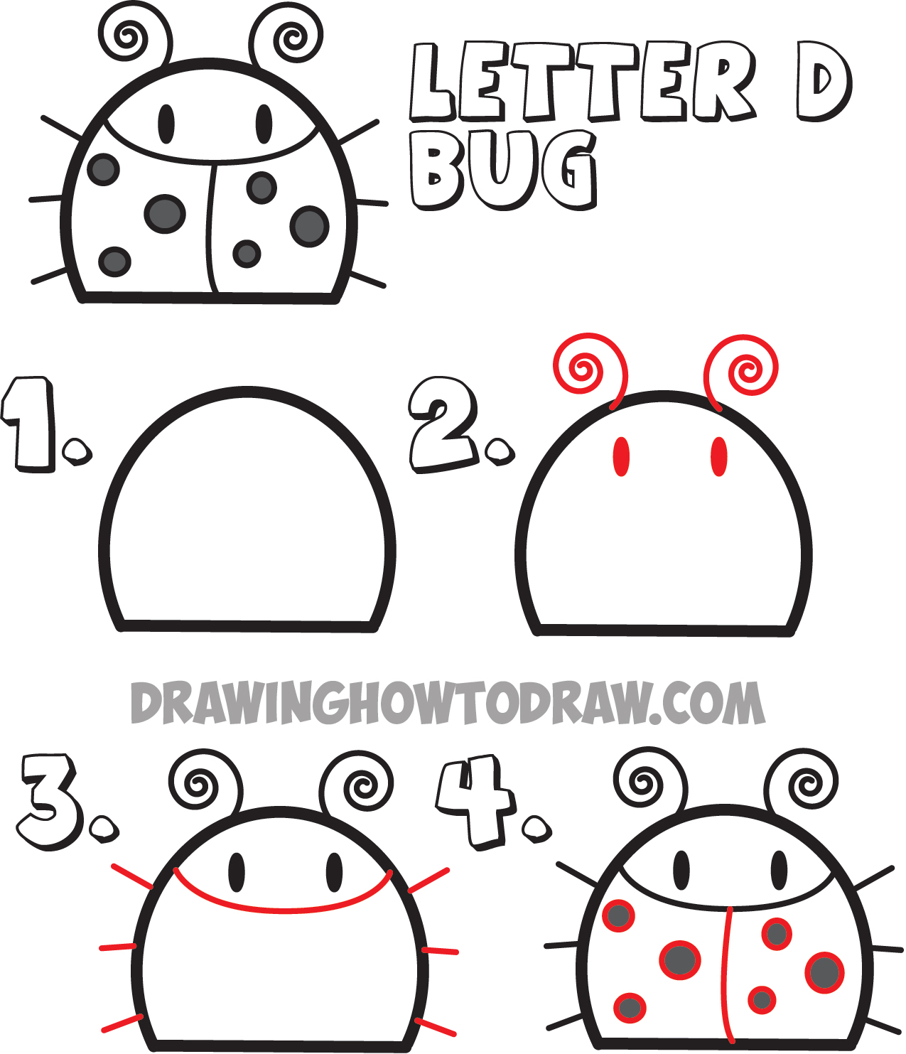 Uncategorized Drawing Lesson For Kids huge guide to drawing cartoon animals from the uppercase letter d how draw a bug shape
