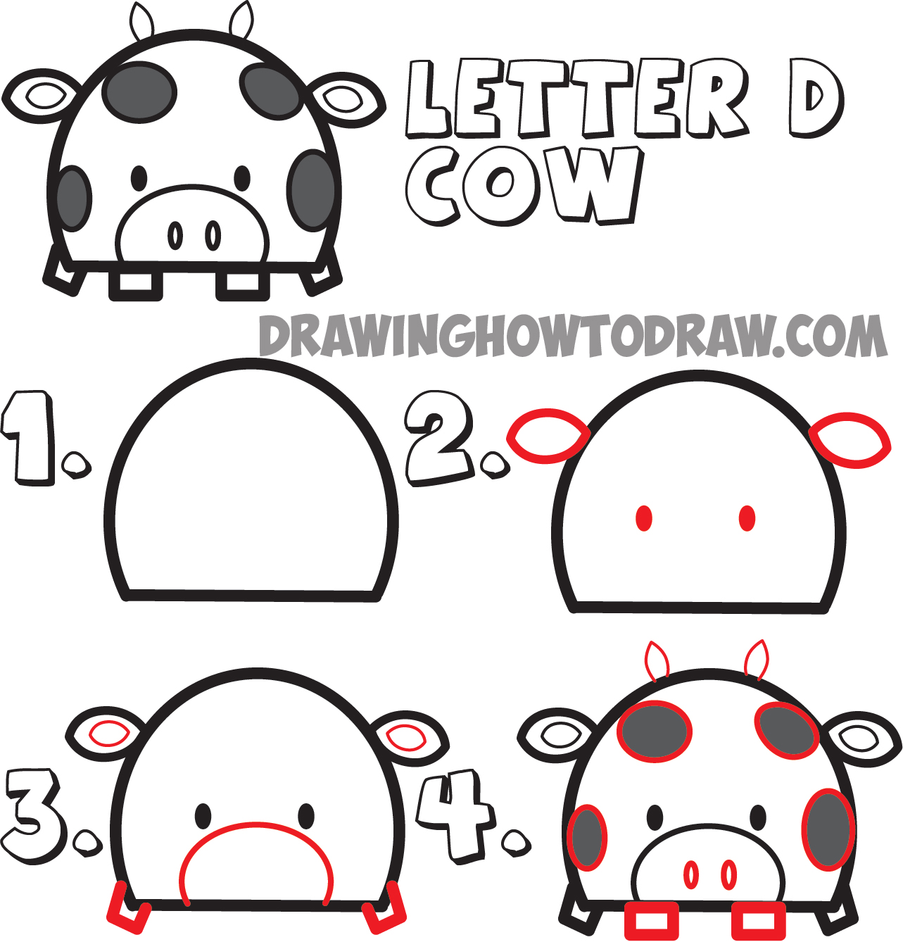 Uncategorized How To Draw Cartoon Kids huge guide to drawing cartoon animals from the uppercase letter d how draw cows shape