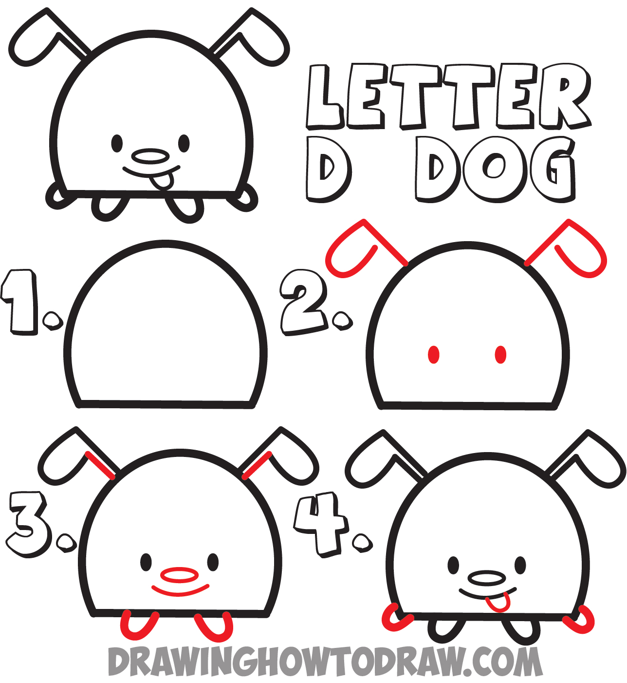 Huge guide to drawing cartoon animals from the uppercase letter d letter d cartoon dogs step by step how to draw ccuart Image collections