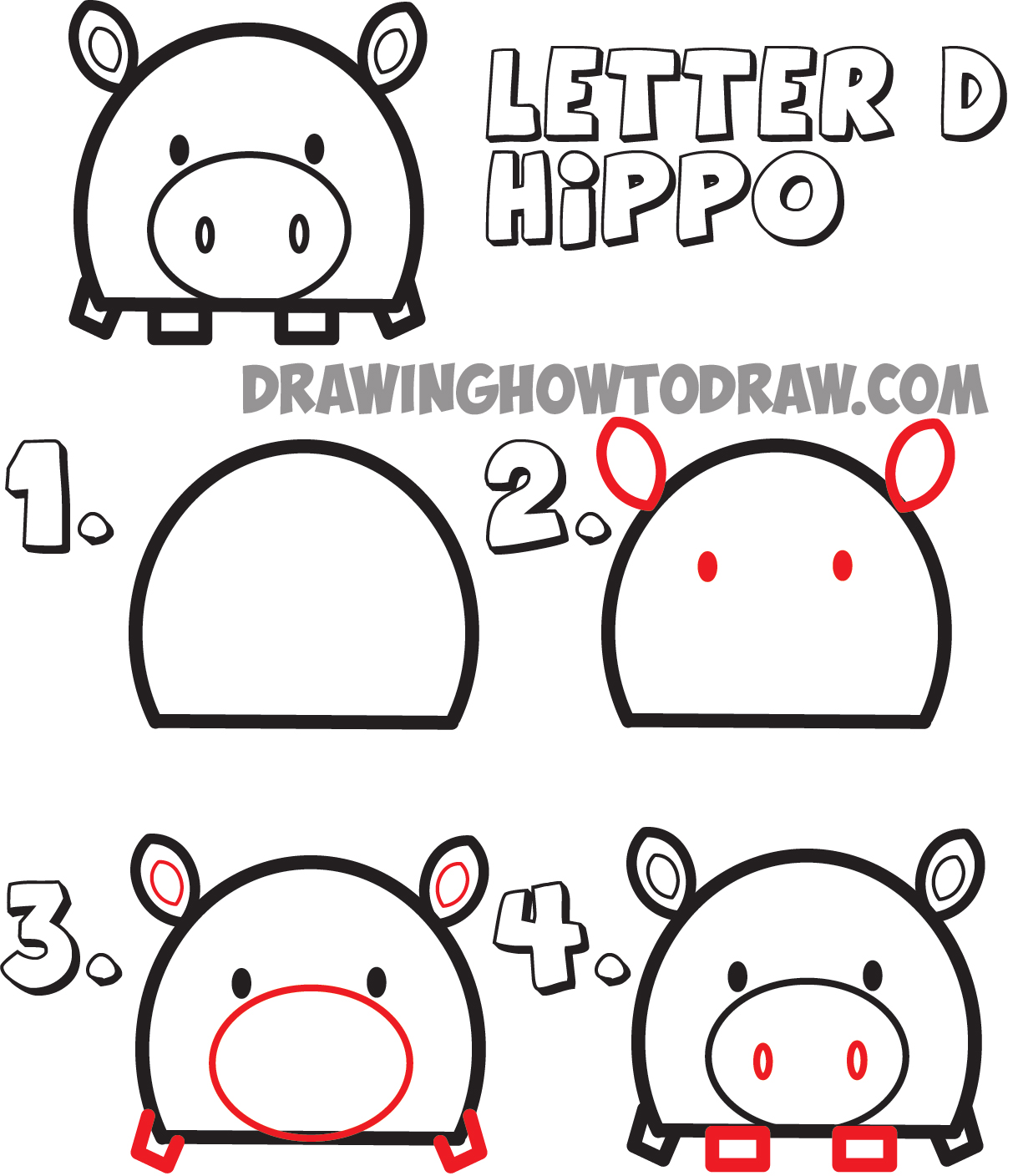 Letter D Cartoon Hippos : Step By Step How To Draw