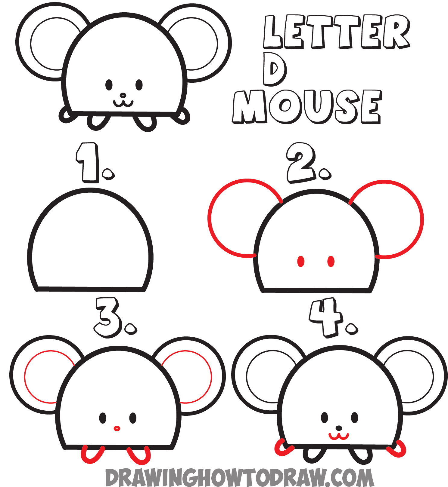 Huge guide to drawing cartoon animals from the uppercase for How to draw with a mouse