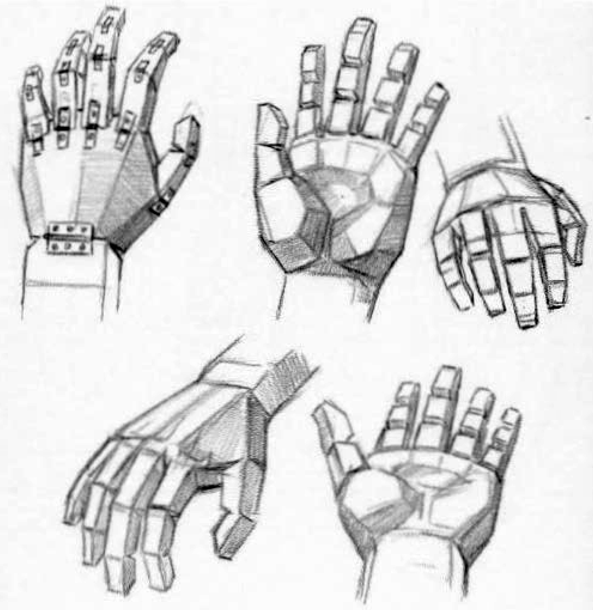 drawing hands by using basic shapes and blocks