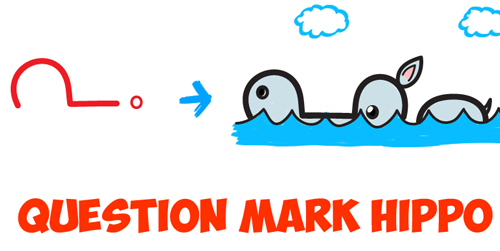 how to draw a question mark hippo drawing lesson for kids