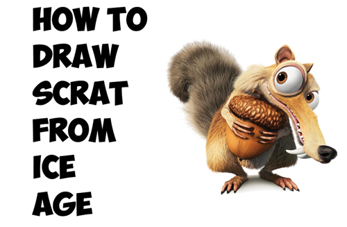 how to draw scrat the squirrel with acorn from ice age movies drawing tutorial
