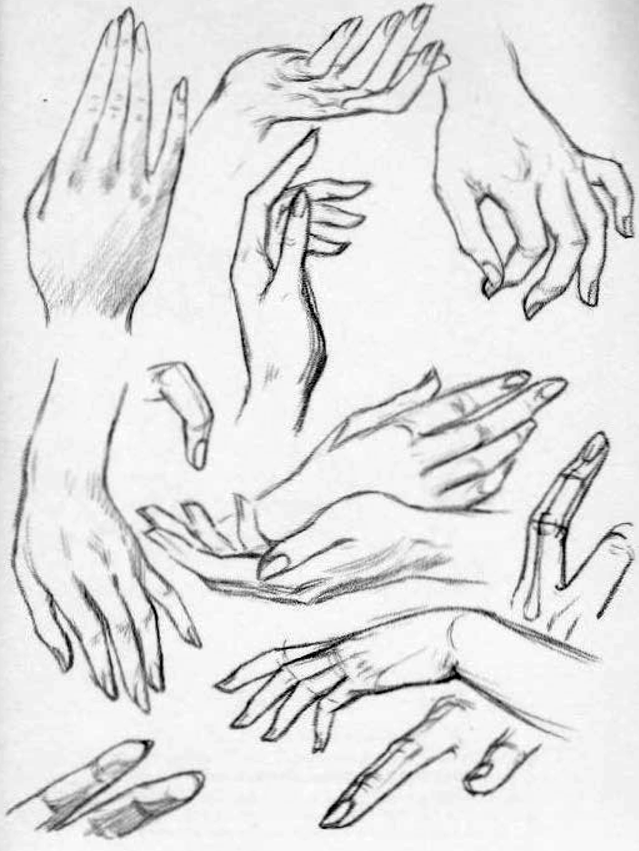 how to draw tapered fingers at an angle