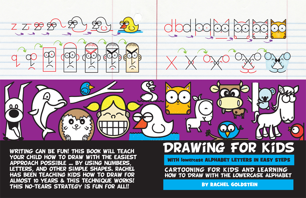 Drawing cartoons using lowercase letters - cartooning book for kids