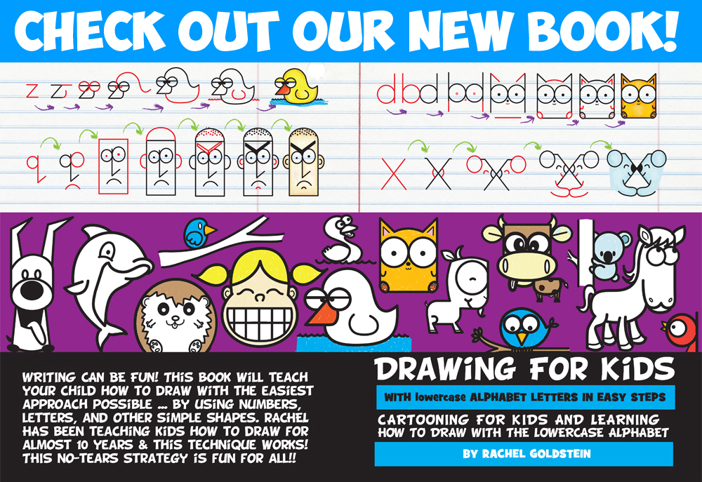 how to draw cartoons and drawings from lowercase letters - drawing book for kids