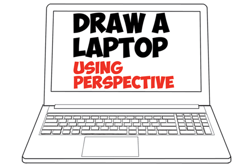 Learn How to Draw Computer Laptops Using One Point Perspective in Simple Step by Step Drawing Lesson