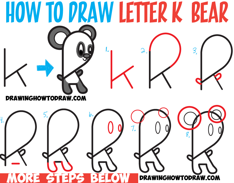 Learn How to Draw a Cartoon Panda Bear from Lowercase Letter k : Step by Step Drawing Lesson for Kids