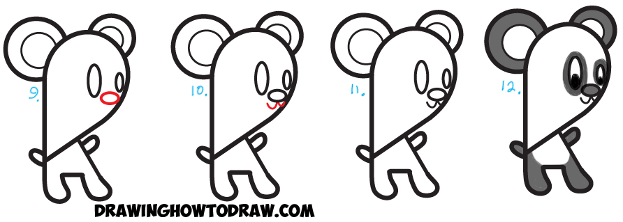 Learn How to Draw a Cartoon Panda Bear from Lowercase Letter k  : Simple Steps Drawing Tutorial for Kids