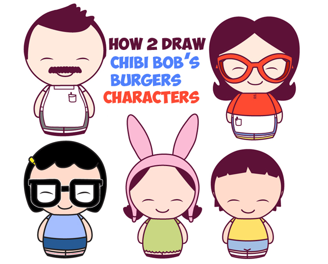 How to draw kawaii chibi bobs burgers characters in easy steps drawing tutorial