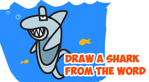 How to Draw a Cartoon Shark from the Word - Step by Step Word Cartoon Tutorial