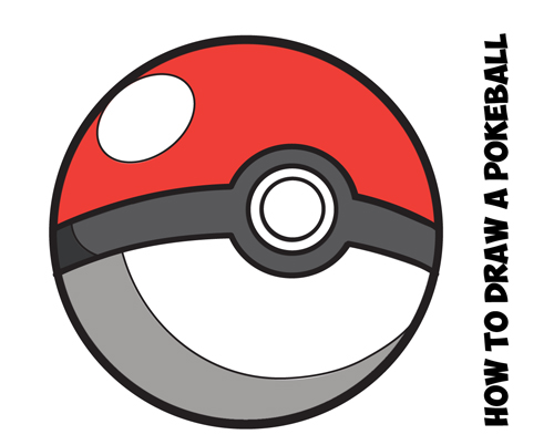 How to Draw a Pokeball from Pokemon - Easy Step by Step Drawing ...