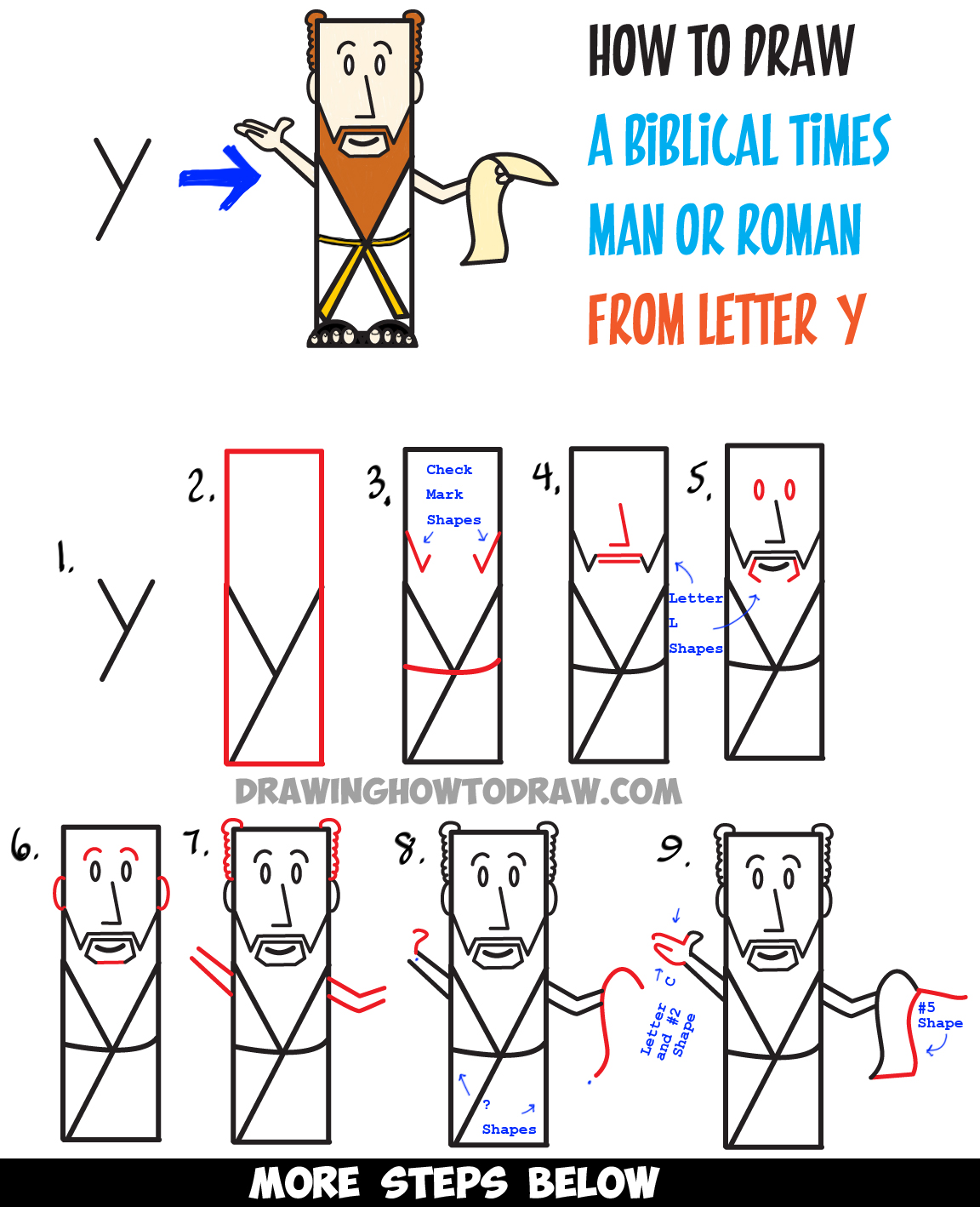 How to Draw a Man from Ancient Rome or Biblical Times from Letter Y