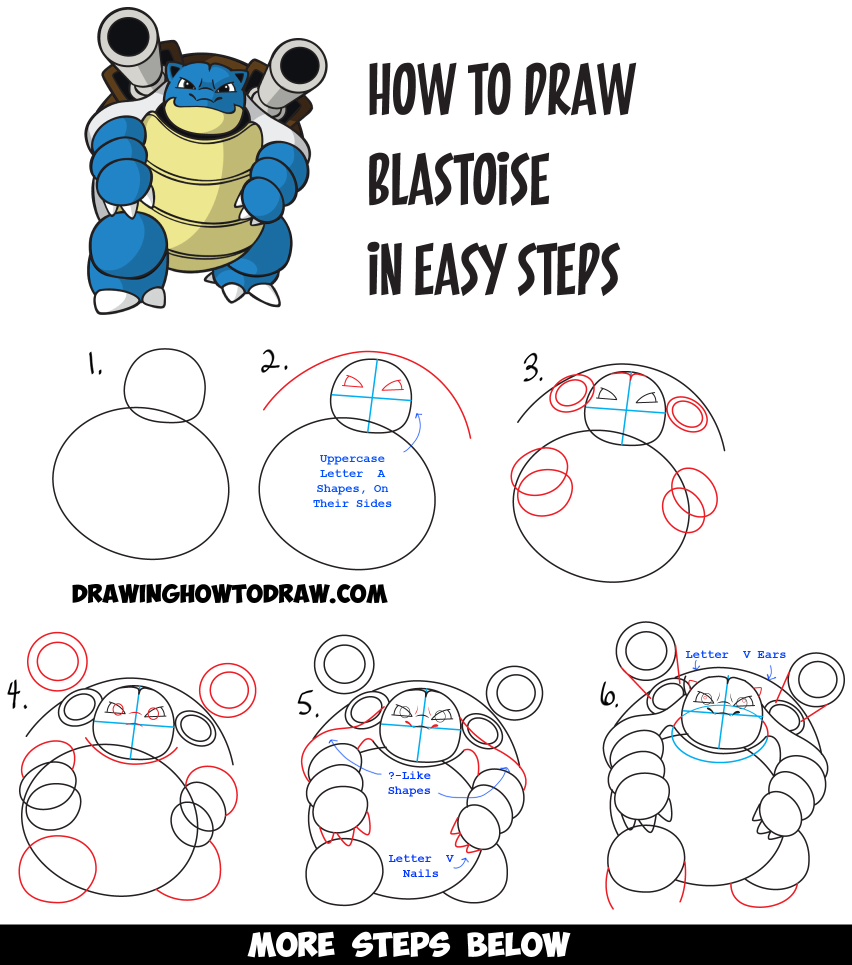 How to draw blastoise from pokemon easy drawing tutorial for Learn drawing online step by step