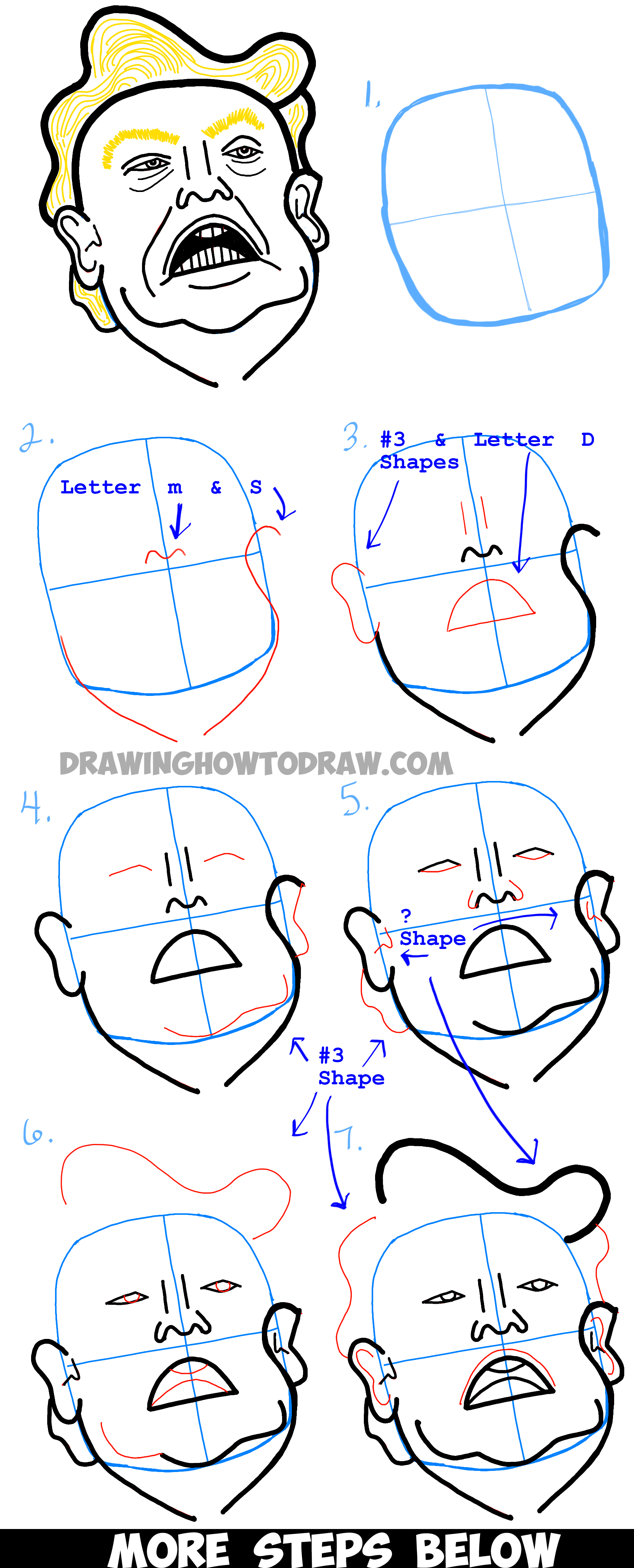 How to Draw Donald Trump Caricature or Illustration - Step by Step Drawing Tutorial
