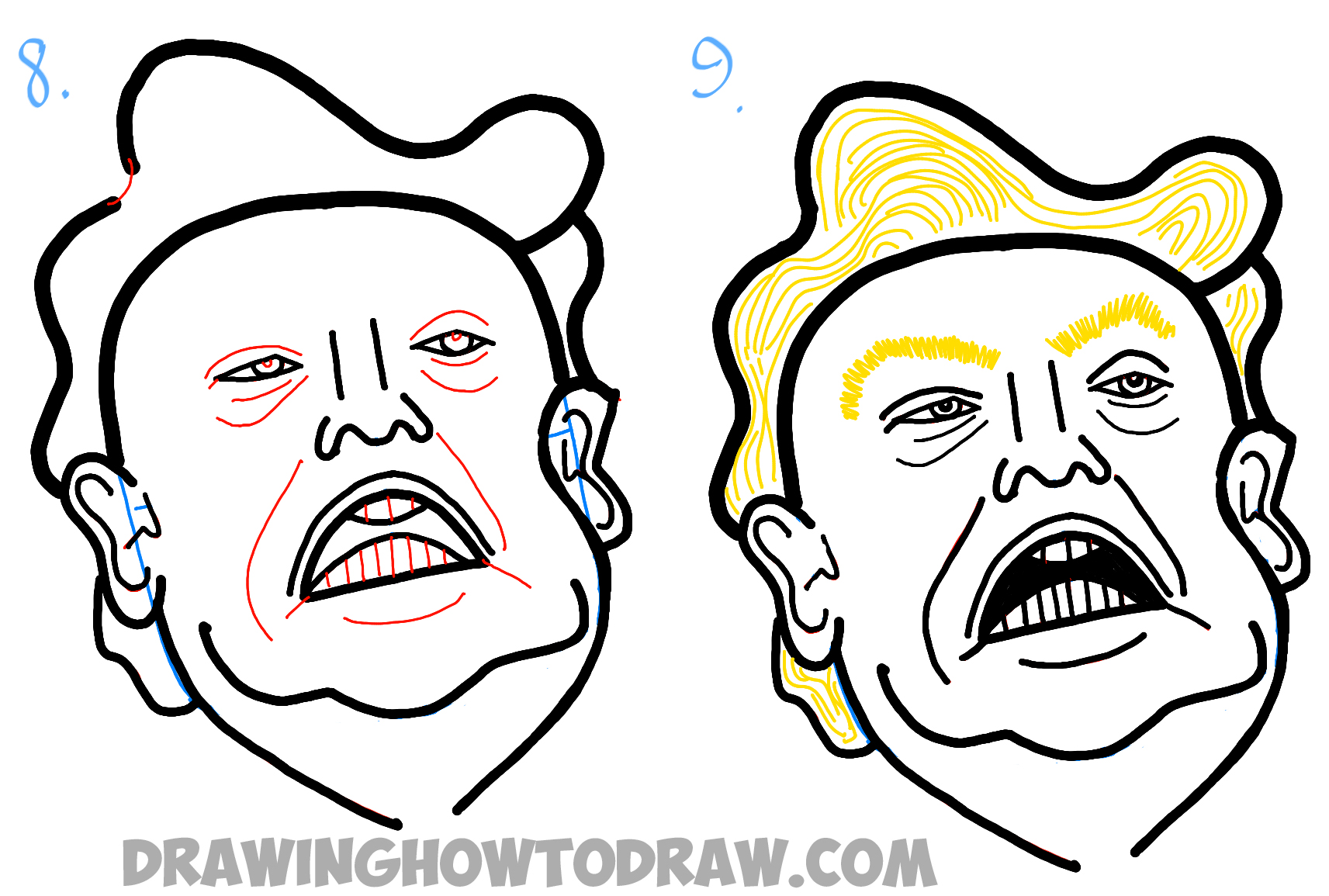Learn How to Draw Donald Trump Caricature or Illustration - Easy Steps Drawing Lesson