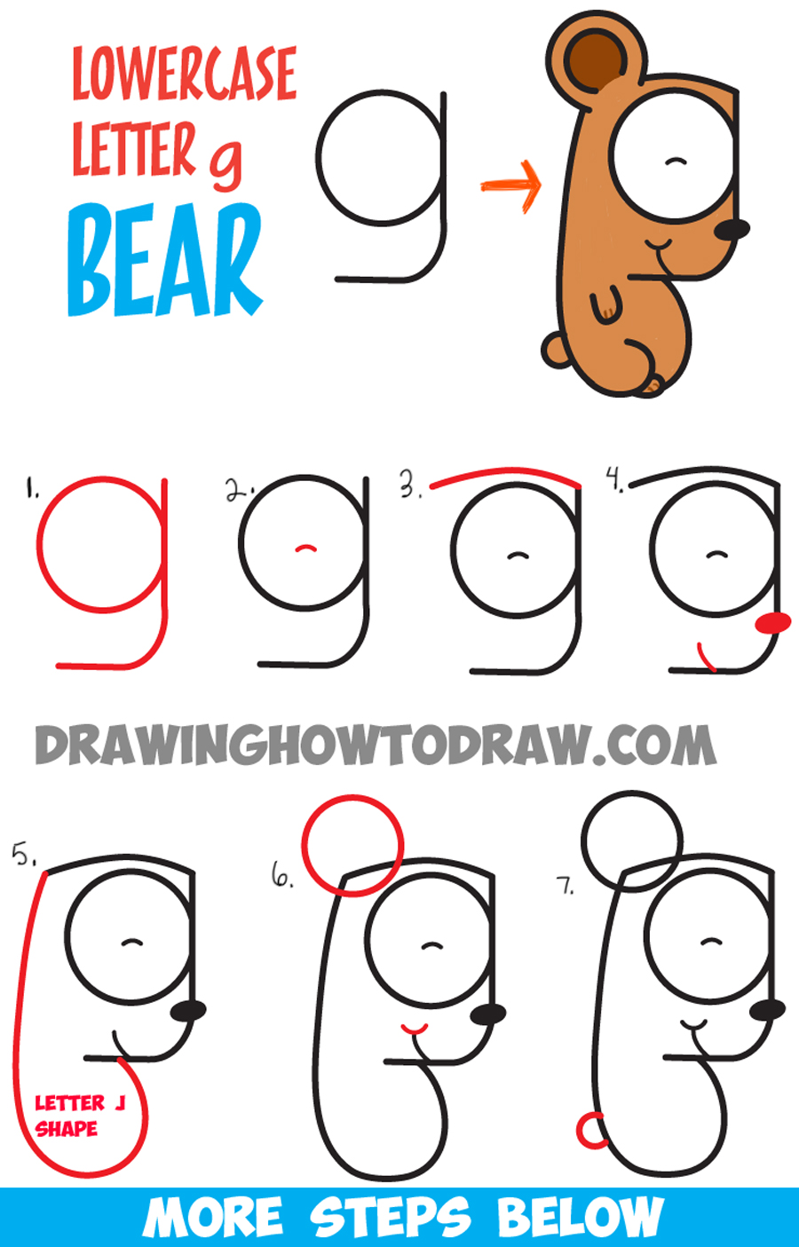 How to Draw Cartoon Bear Cub from Lowercase Letter g - Easy Step by Step Drawing Tutorial for Kids
