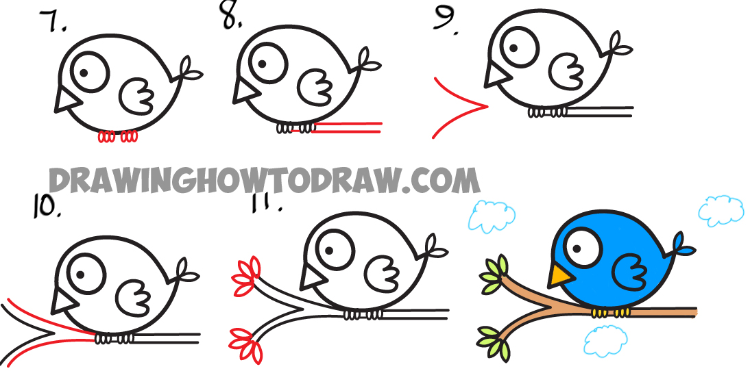 Learn How to Draw Cute Cartoon Bird from Arrow Shape - Simple Step by Step Drawing Lesson for Kids