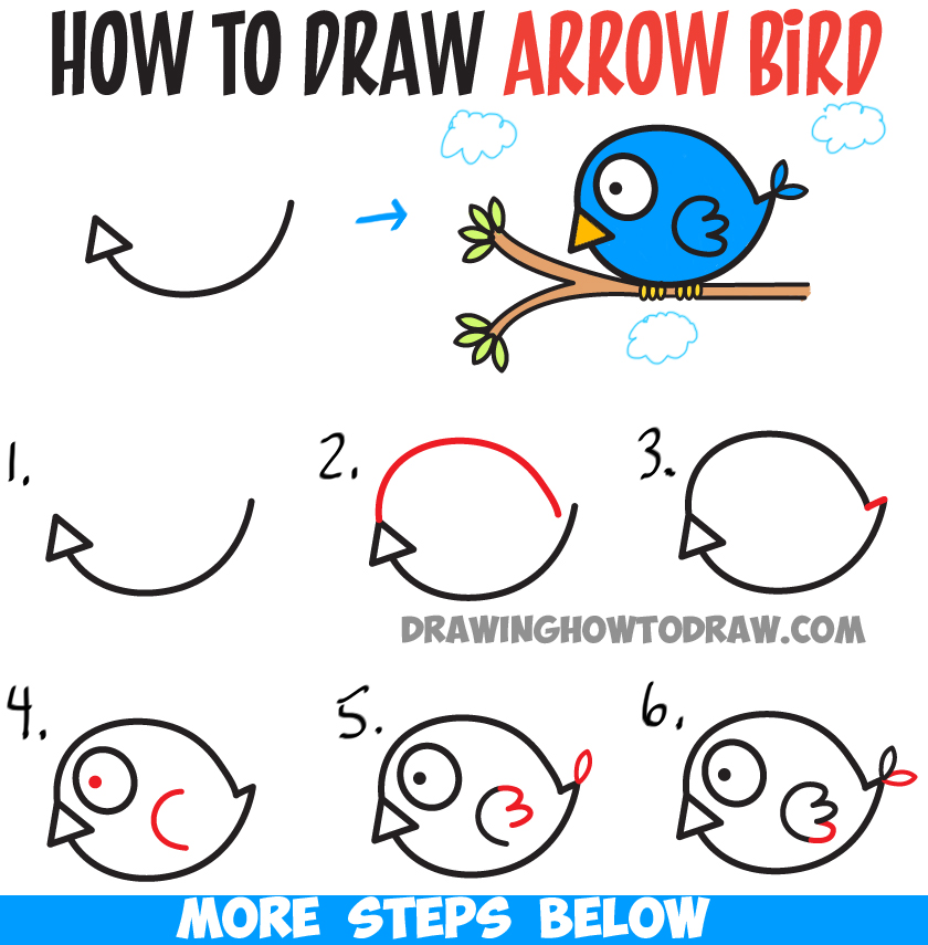 How to Draw Cute Cartoon Bird Illustration from Arrow Shape - Easy Tutorial for Kids