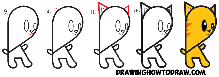 Learn How to Draw a Cartoon Kitty Cat from Lowercase Letter g  : Easy Steps Drawing Tutorial for Kids
