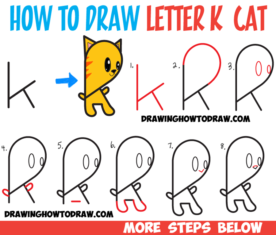 Learn How to Draw a Cartoon Kitty Cat from Lowercase Letter g : Step by Step Drawing Lesson for Kids