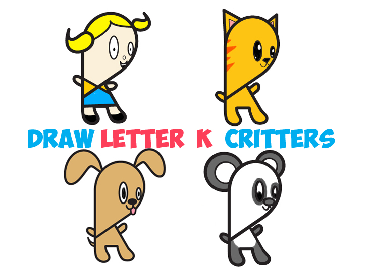 Huge Guide to Drawing Cartoon Characters from Lowercase Letter k – Easy Tutorials for Kids