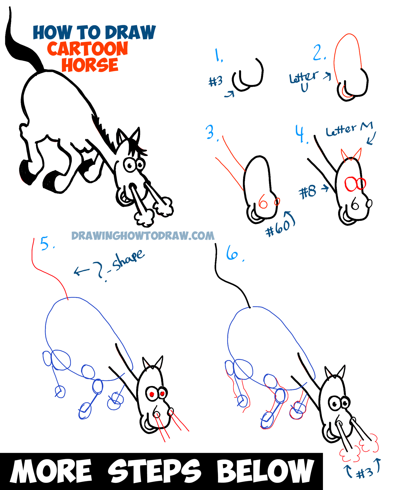 How to Draw a Cartoon Horse Galloping / Charging - Step by Step Tutorial